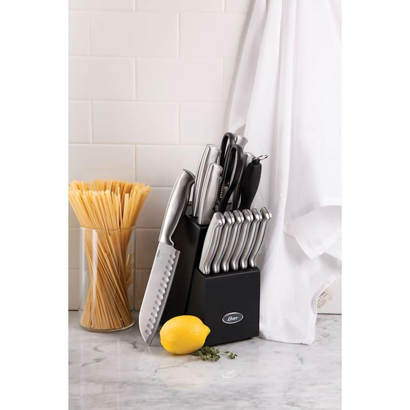 Oster Baldwyn 14-Piece Stainless Steel Cutlery Set/Blk Wood Block