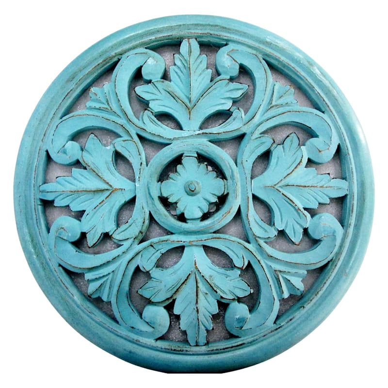 16in. Blue Hand Carved Round Wood Medallion Wall Decor