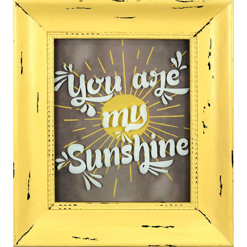 8X10 Yellow You Are My Sunshine Framed Art Under Glass