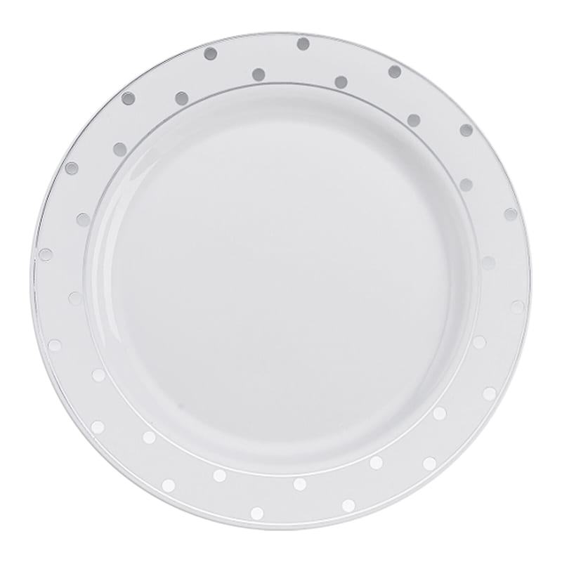10in. White/Silver Dot Plates