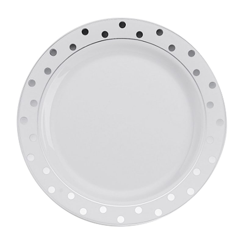 Set Of 10 7.5in. White/Silver Dot Plates