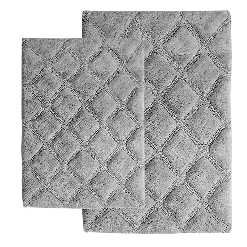 Grey 2-Piece Diamond Bath Rug Set