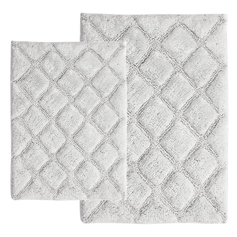 White 2-Piece Diamond Bath Rug Set
