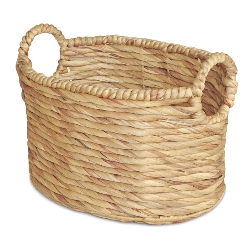 Water Hyacinth Oval Round Basket/Handle Xs