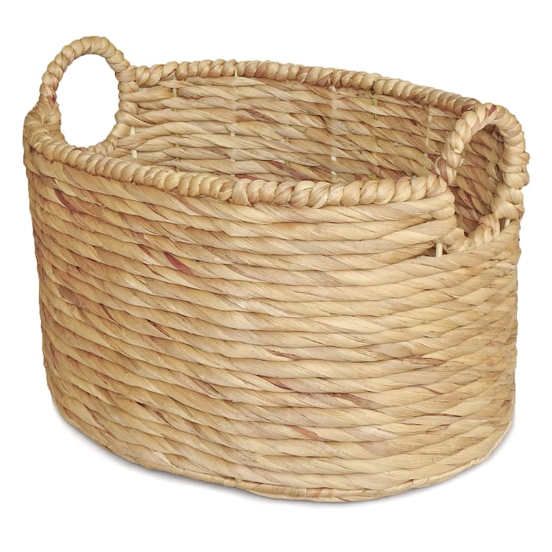 Water Hyacinth Oval Round Basket/Handle S