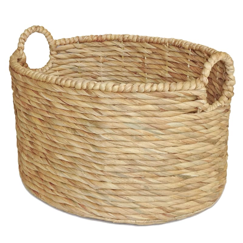 Water Hyacinth Oval Round Basket/Handle M