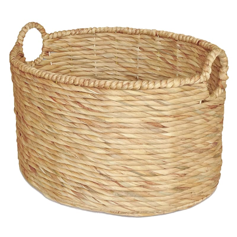 Water Hyacinth Oval Round Basket/Handle L