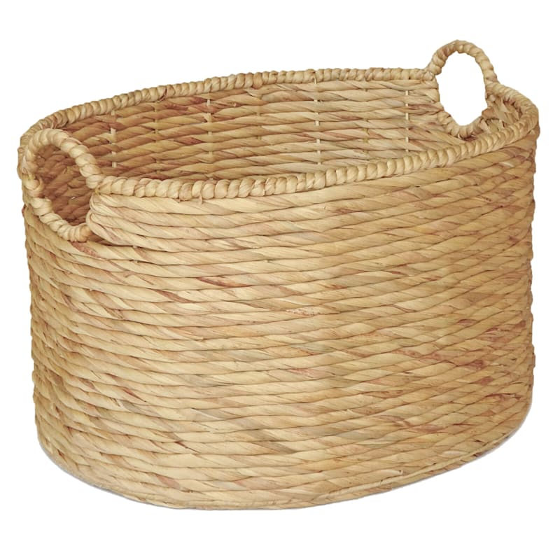 Water Hyacinth Oval Round Basket/Handle XL
