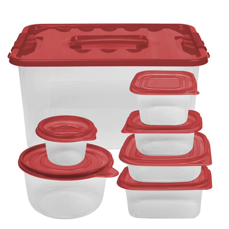 54 Piece Storage Set with Red Lid