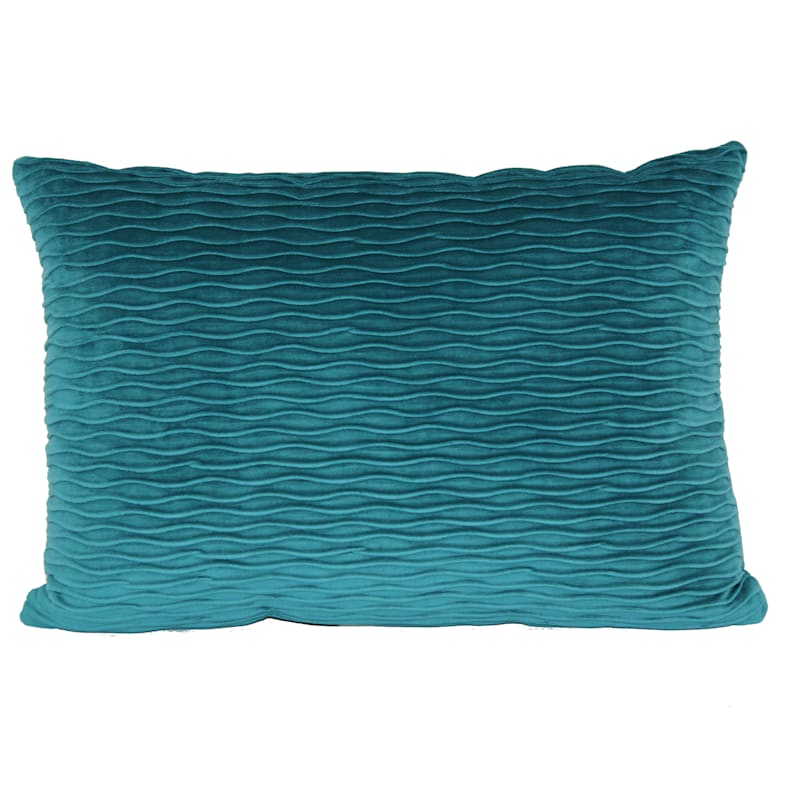Teal Ripple Textured Plush Pillow 14X20