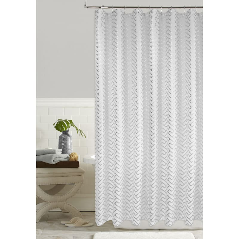 TROY WHITE SHOWER CURTAIN