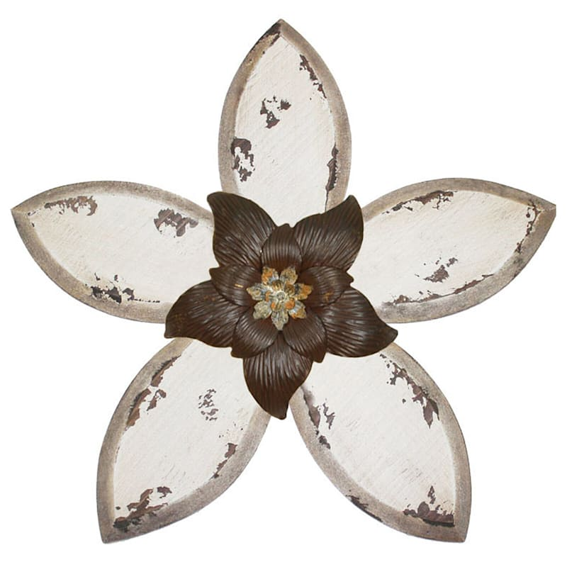 15X14 Tan Distressed Wood Flower And Metal Wall Decor