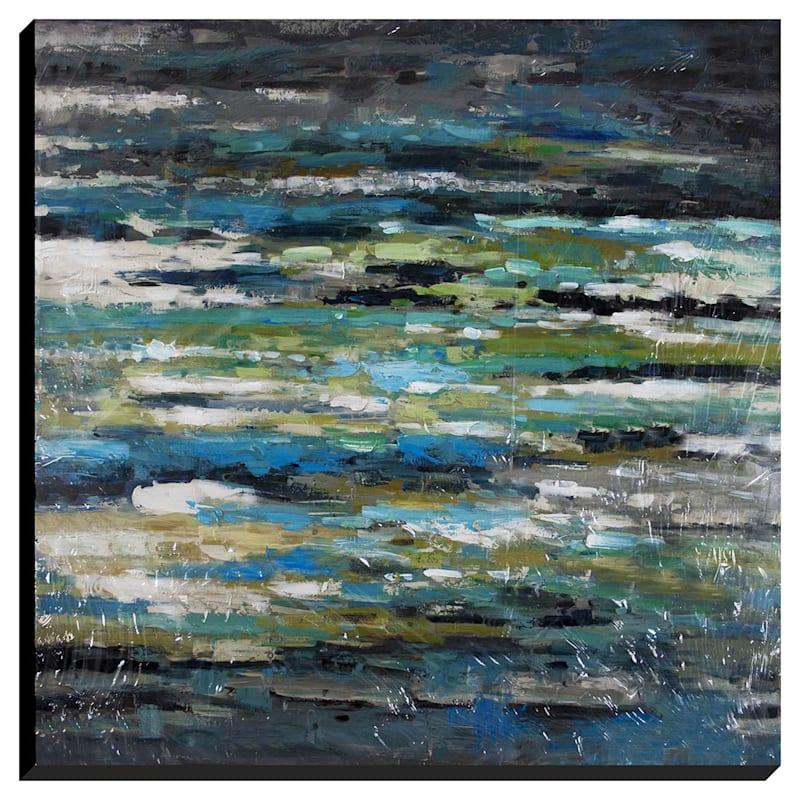 47X47 Blue Streaks Enhanced Canvas