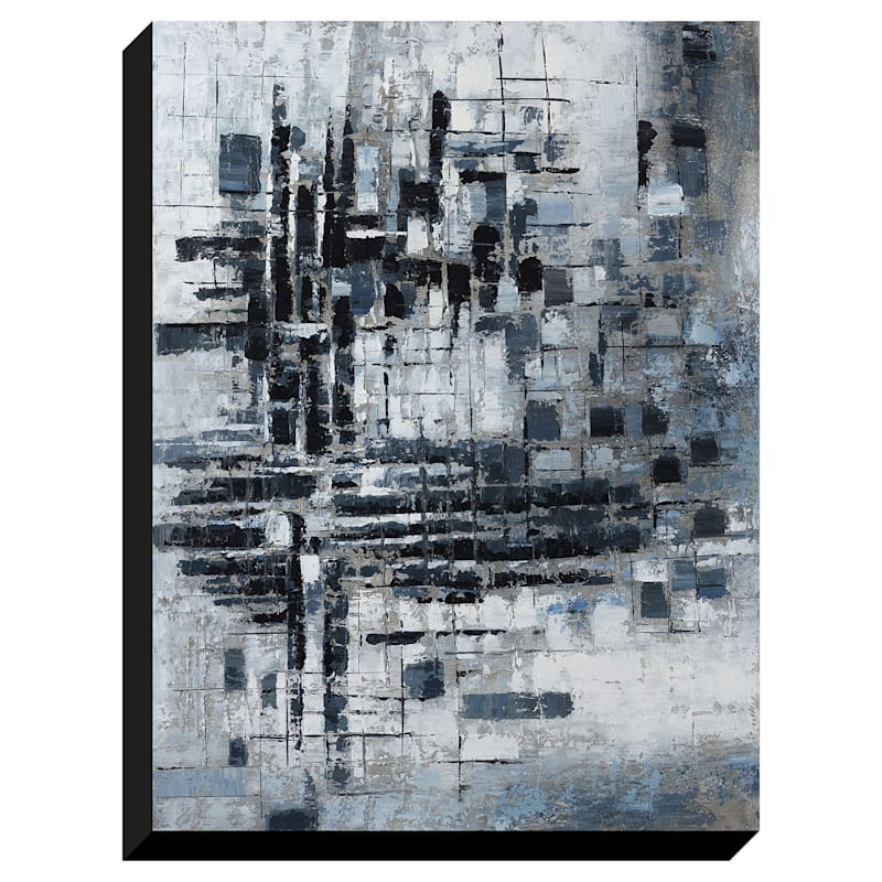 30X40 Grey Squares Enhanced Canvas