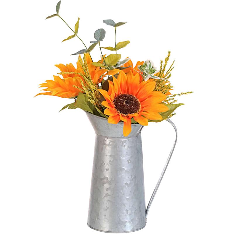 Sunflower Bouquet in Metal Planter- 17-in