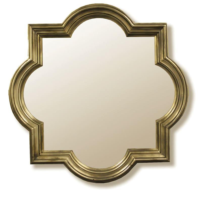 47X47 Quatrefoil Polyurethane Framed Champagne Wall Mirror