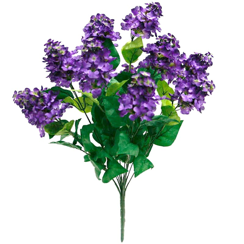 Dark Purple Lilac Faux Floral Bush Stem