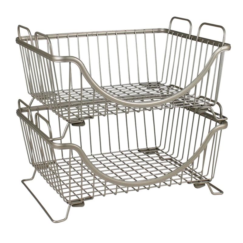 Ashley Stack Basket Tray Satin Nickel