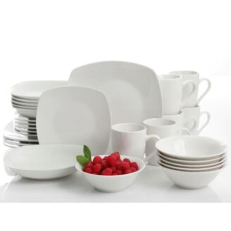 Hagen 30-Piece Square Dinnerware Set White Fine Ceramic
