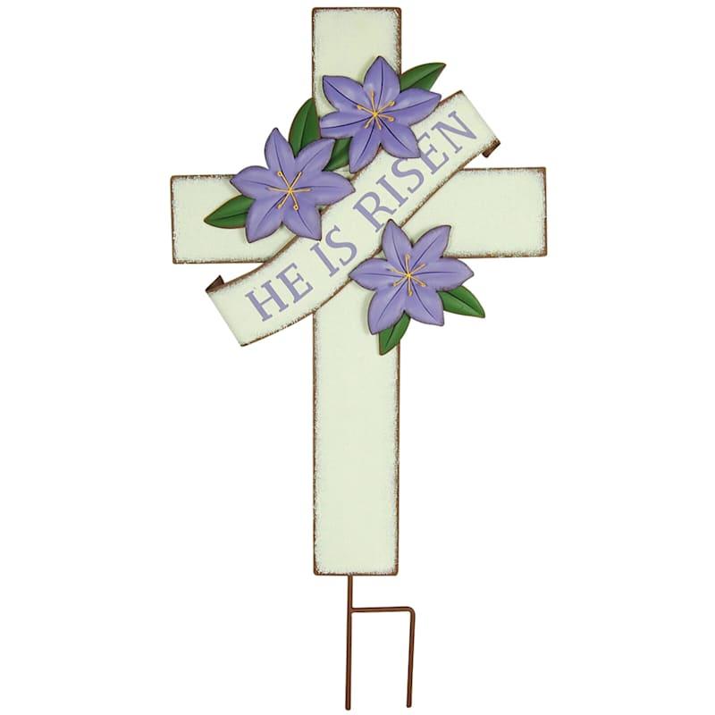 """He Is Risen"" Metal Cross Yard Stake, 30"""