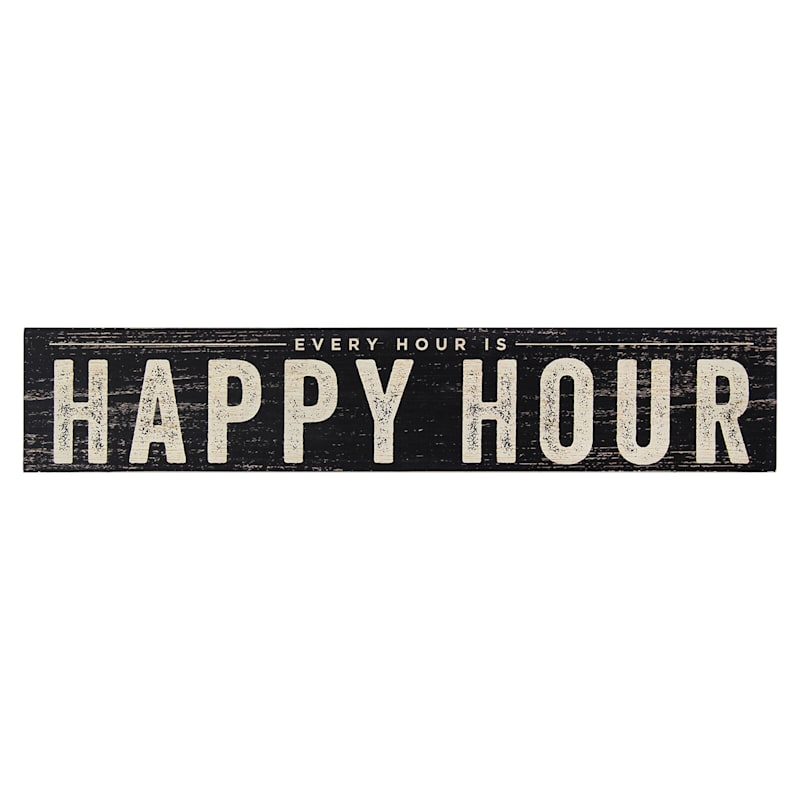 Happy Hour Wood Black Wall Decor
