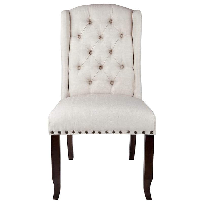 Aahmad Natural Tufted Fabric Wing Dining Chair with Nailheads