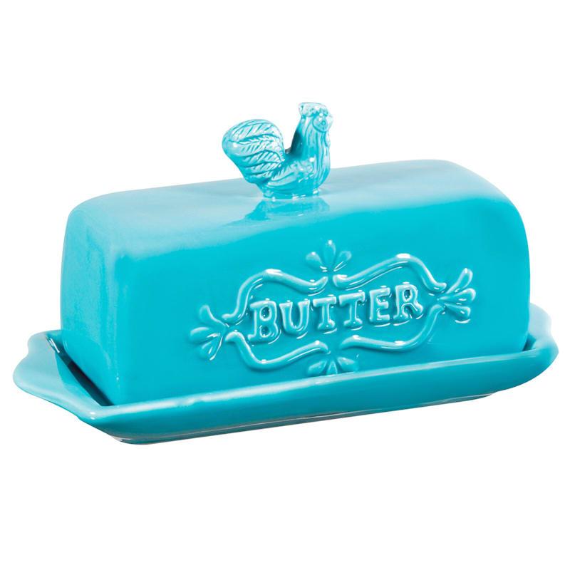 Rooster Butter Dish - Aqua