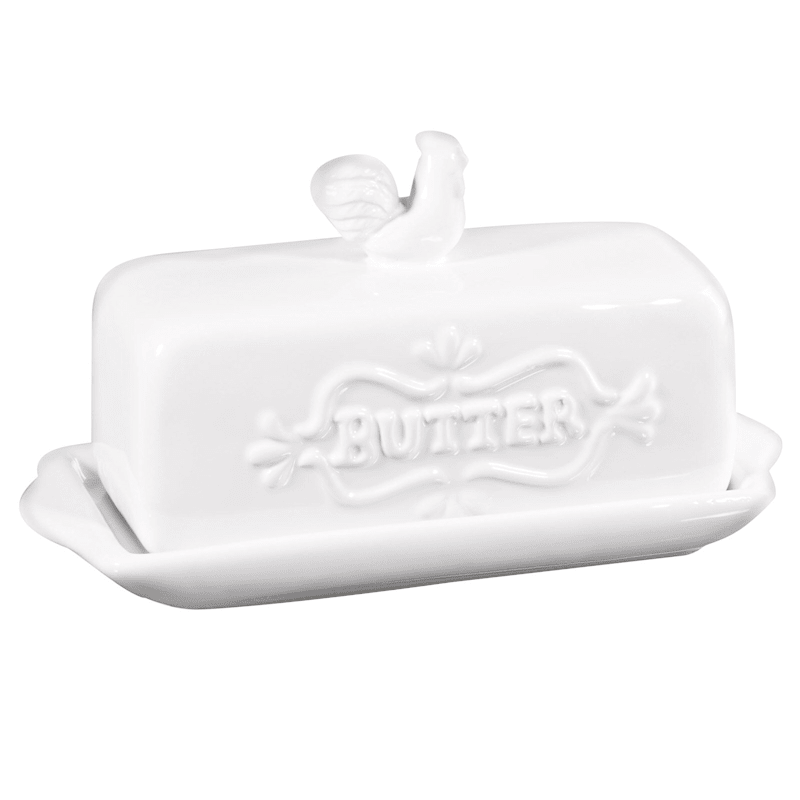 White Rooster Butter Dish