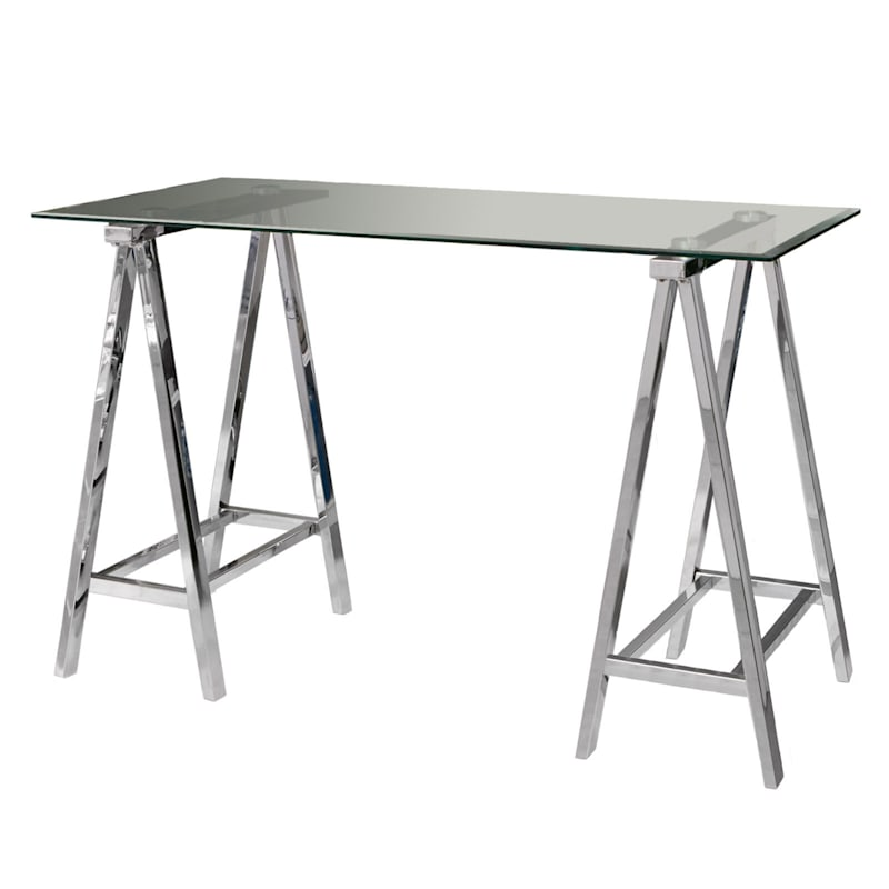 """Middleton Desk with Chrome Plated Base & Tempered Glass Top, 47"""""""