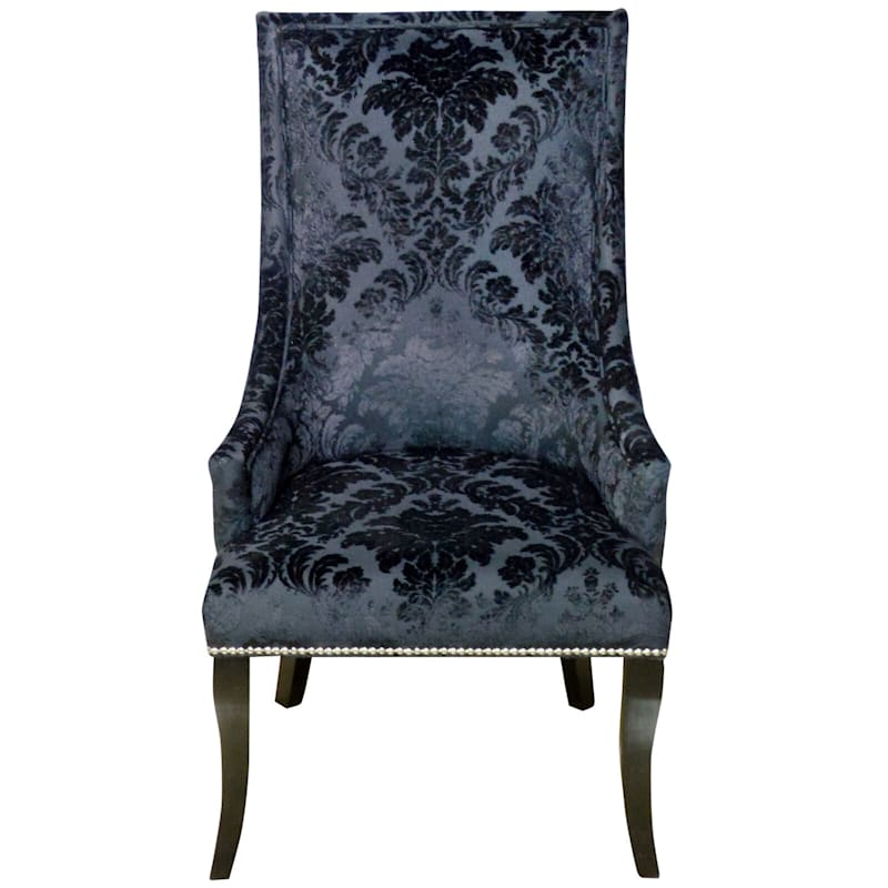 Chatham Black Velvet Damask Print Accent Chair