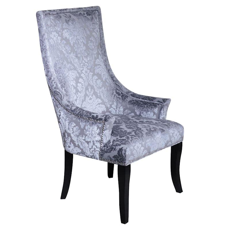 Chatham Grey Velvet Damask Print Accent Chair