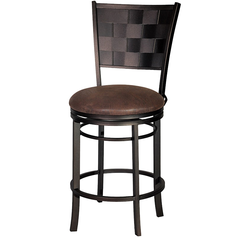 """Riviera Brown Metal Swivel Counter Stool with Faux Leather Upholstered Seat, 24"""""""