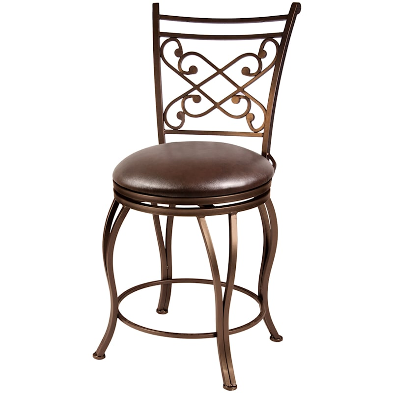 Rome Brown Metal Swivel Counter Stool with Upholstered Seat, 24""