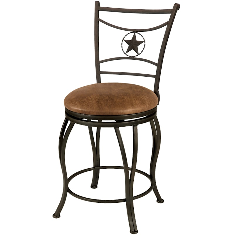 Western Style Brown Metal Swivel Counterstool & Faux Leather Upholstered Seat