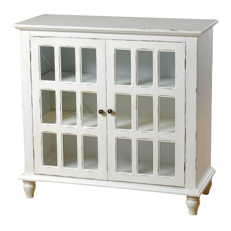 White 2 Door French Country Wood Cabinet