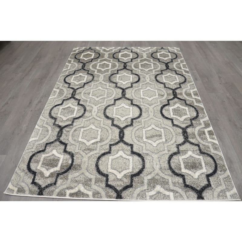 (B281) Grey & Black Trellis Design, 8x10