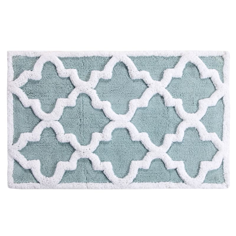 White/Blue 2-Piece Quatrefoil Rug Set