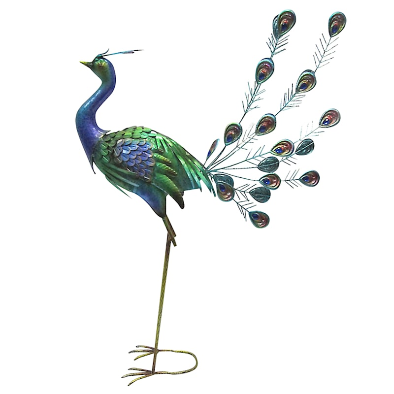 Metal Peacock Statue/Tail Up/Acrylic Jewels On Tail