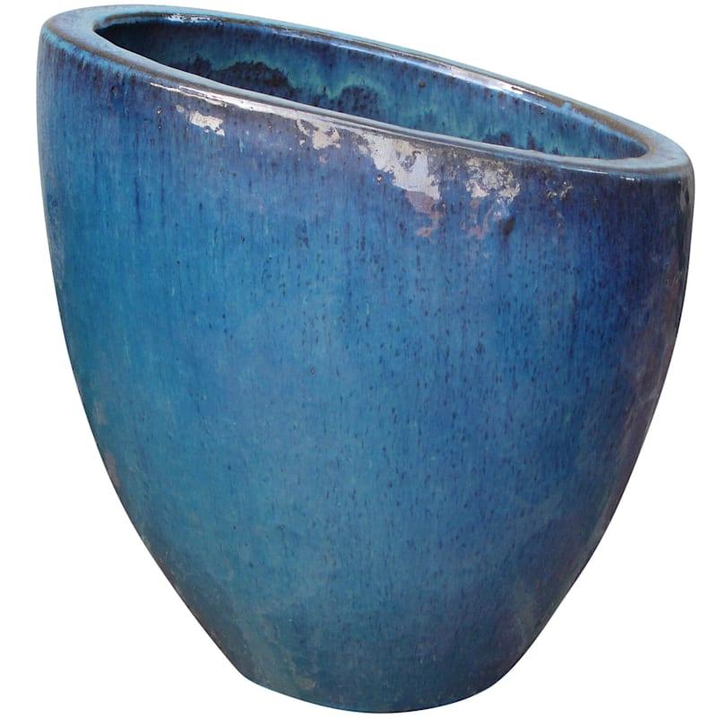 Fall Away Ceramic Planter 17.7in. Aqua