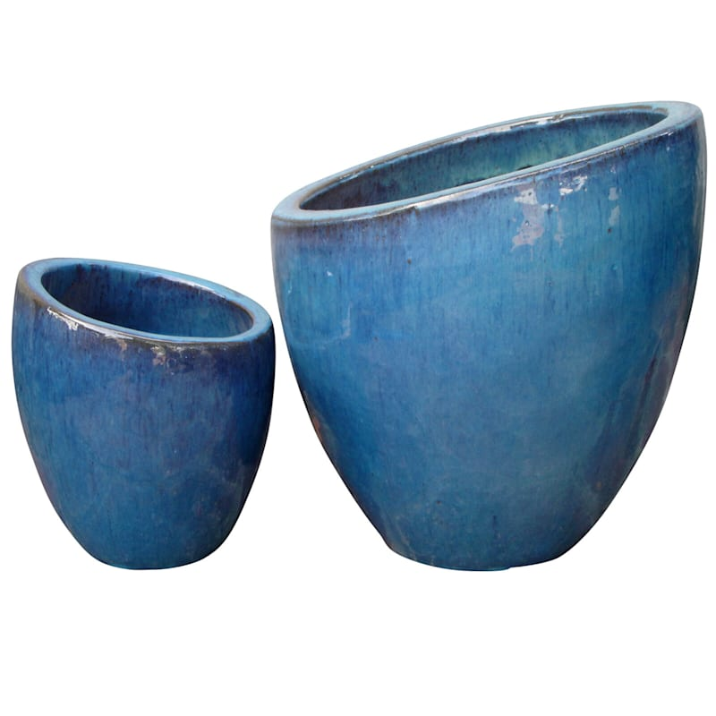 Fall Away Ceramic Planter 11in. Aqua