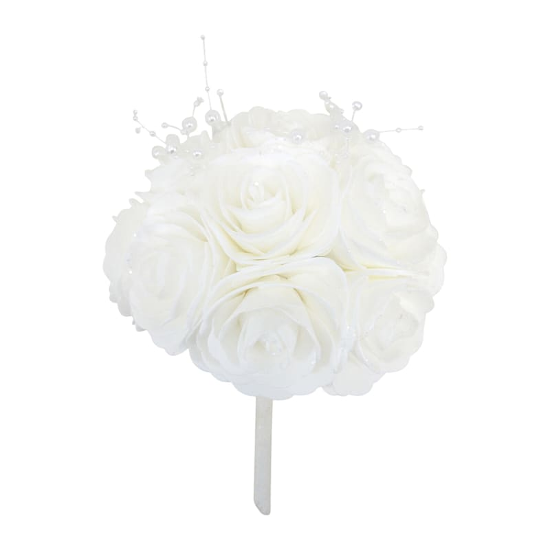 6in. Floral Kissing Ball White