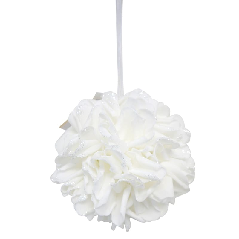 8in. Floral Kissing Ball White