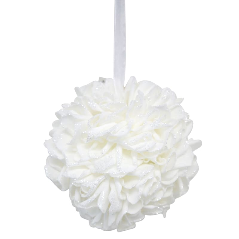 10in. Floral Kissing Ball White
