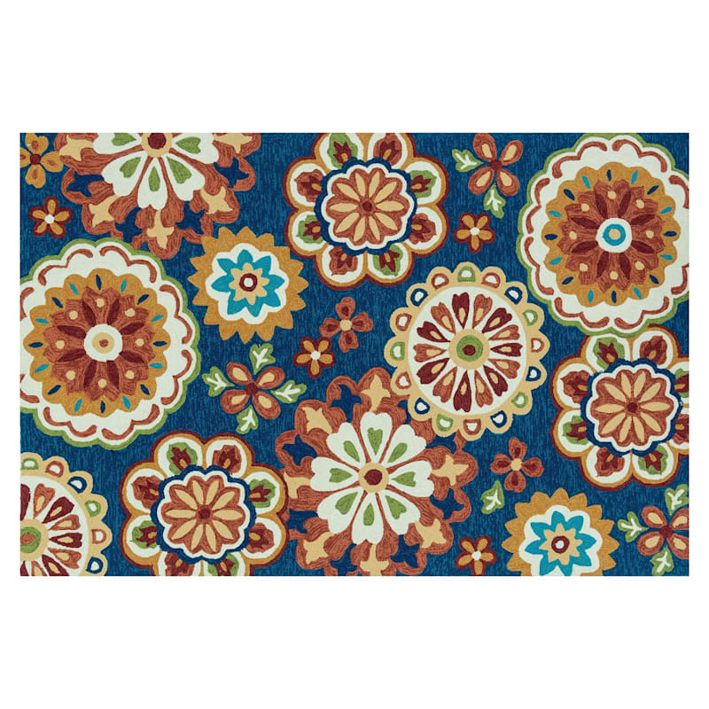 (E138) Santa Monica Medallion Blue & Multi Hooked Area Rug, 8x10