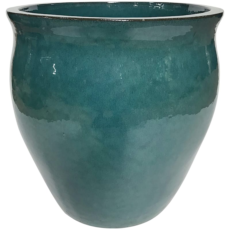 Teal Flare Ceramic Planter, 17""
