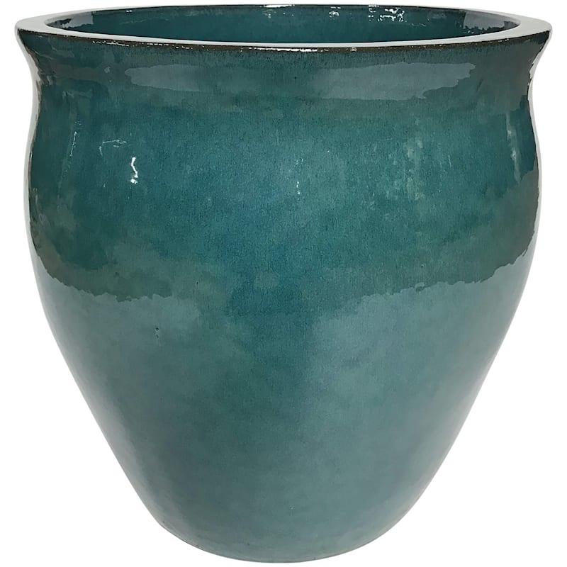 Flare Ceramic Planter 9.4in. Aqua