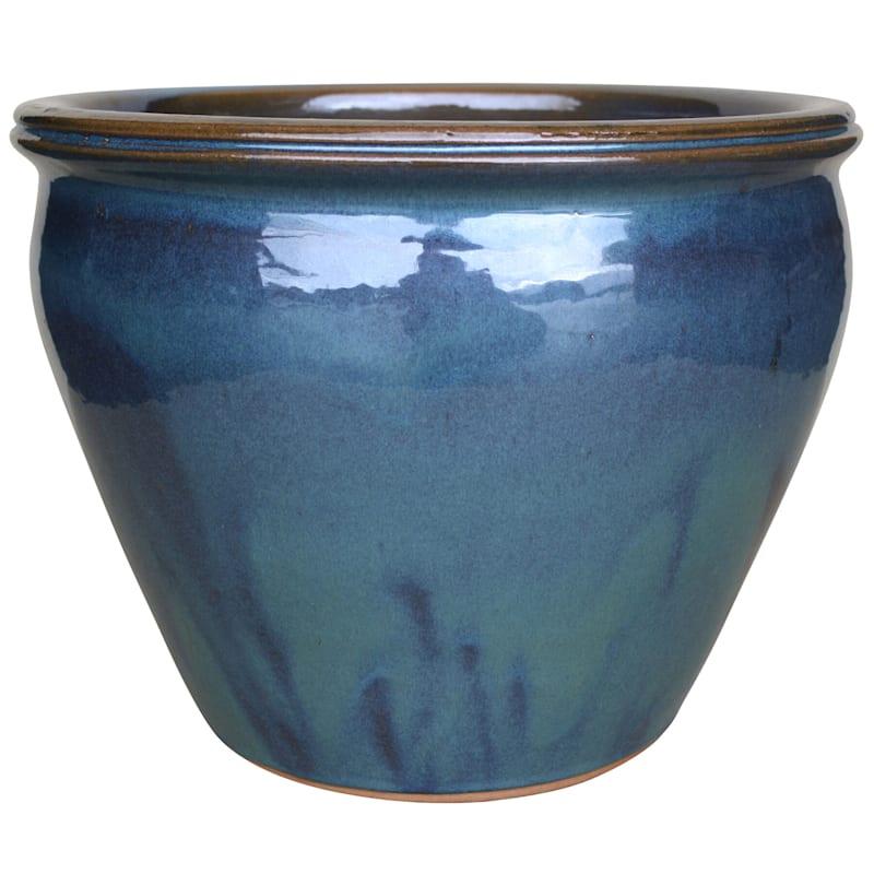 Velvet Ceramic Planter 15in. Lake Green