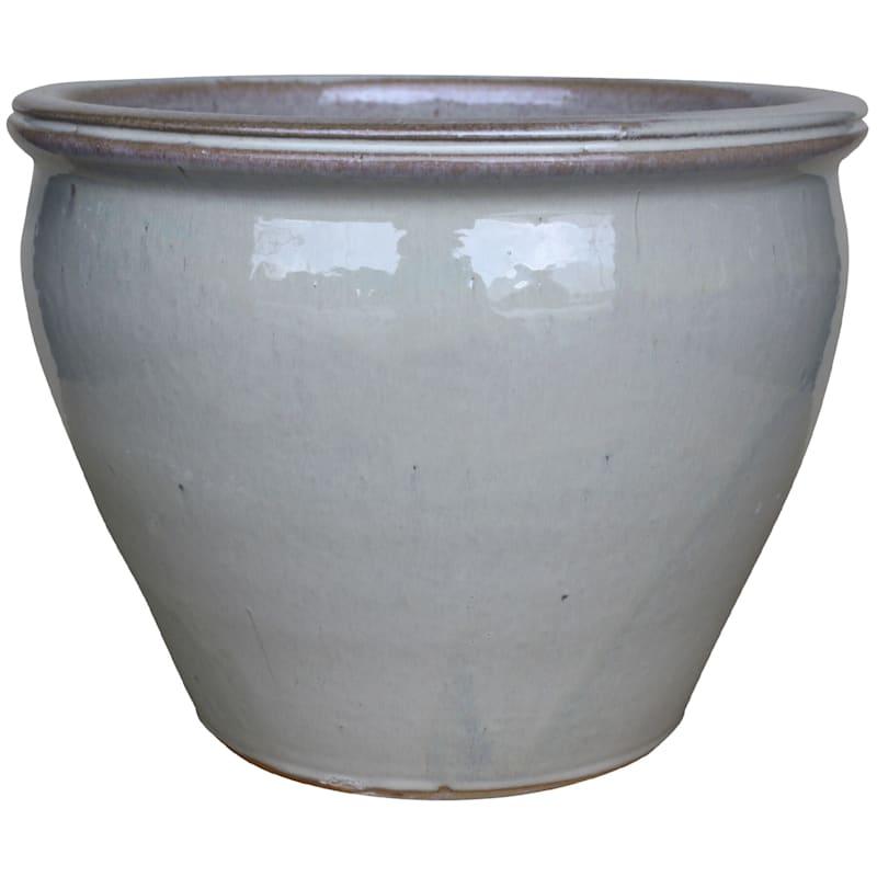 Velvet Ceramic Planter 15in. Running Beige