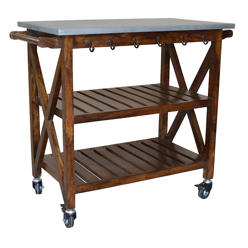 Antwerp Wood Bar Cart With Metal Top And Towel Hooks