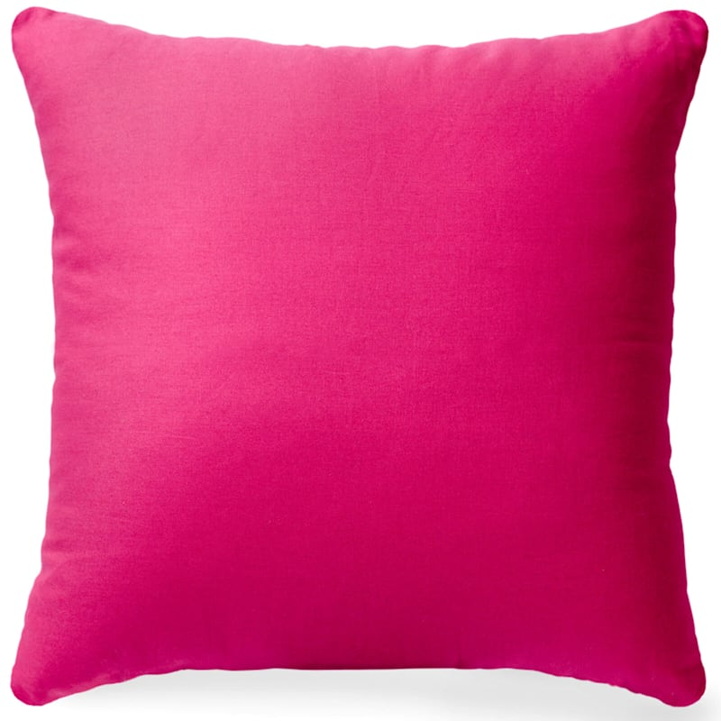 Pink Solid Color Pillow 18X18